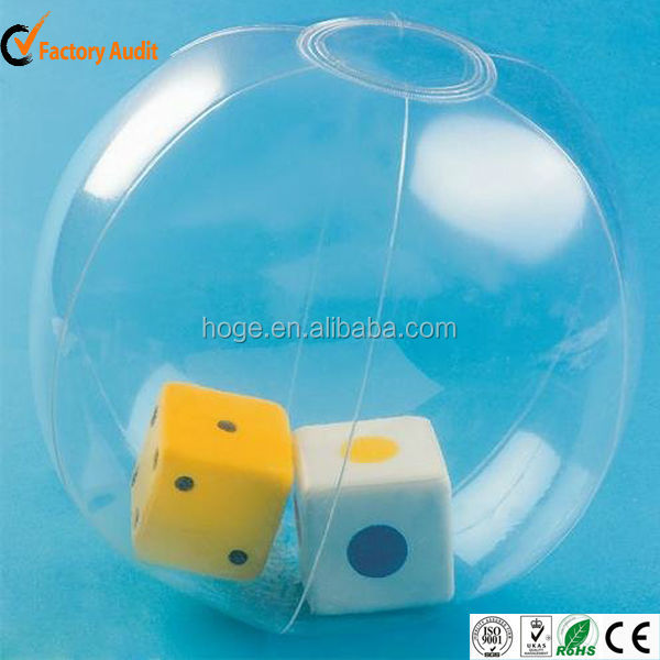 Custom transparent PVC inflatable cube inside the beach ball for advertising