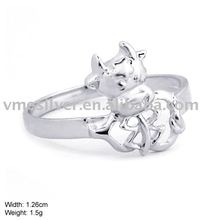 JZ-302 Real Pure 925 Sterling Silver Cow Ring For Men