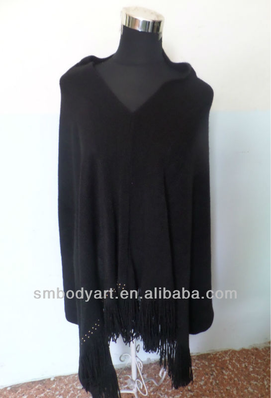 Black Tassel Lady Winter Wraps and Shawls with Sleeves SMBP06