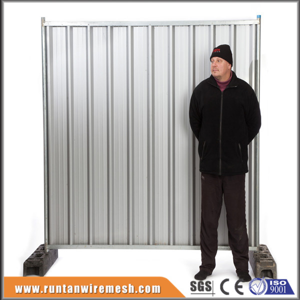 Construction Sites Colorbond Solid Steel Temporary hoarding fence panels