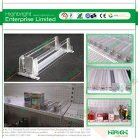 Transparent plastic merchandise shelf pushers