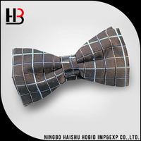 Brown Men Plaid Silk Bow Ties