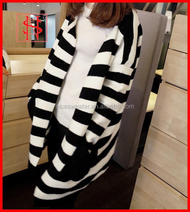 Winter wool black and white striped cardigan sweaters unique womens coats