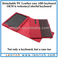 LBK139 For iPad3 bluetooth keyboard case with leather case detachable keyboard