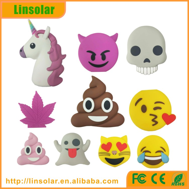 Emoji powerbank 2600mah unicorn power bank charger poop power bank