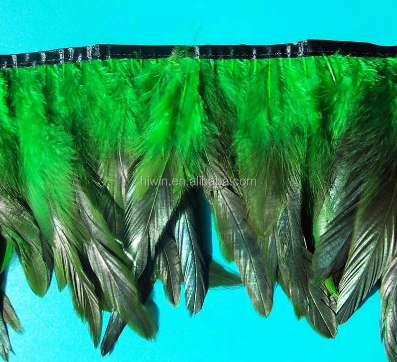 Fabric trimming feathers with satin ribbon tape