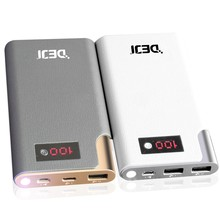Fast Charging Ultra-Slim Portable External Battery Charger Pack QC3.0 PowerBank Micro-USB Cable and LCD Flashlight