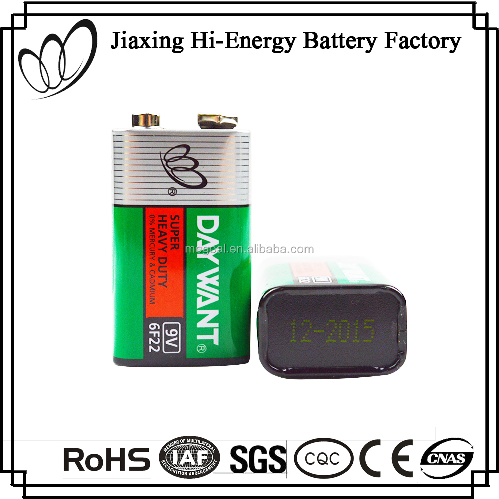 Best Quality Dry Cell 6F22 Carbon Zinc 9V Battery Energizer