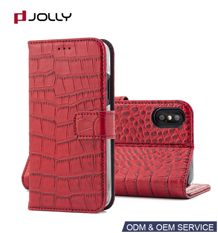 Crocodile Grain Genuine Real Leather Luxury Phone Case With Mirror for iPhone X