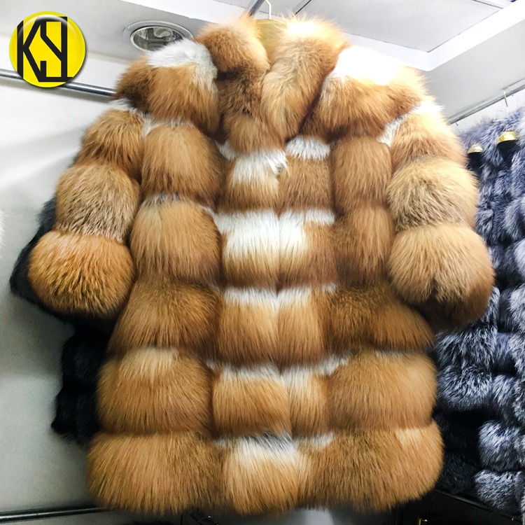 Factory custom all kinds of red fox fur coat & red fox waistcoat thickening encryption Russian style true fur coat