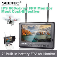 battery powered led lcd monitor fpv 7 inch wireless 5.8ghz transmitter 32 channels auto search RF AV input rc heli