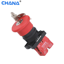 40mm red plastic mushroom rotation auto reset emergency button with key pushbutton switch