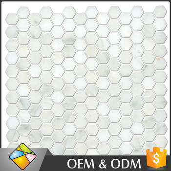 White Color Simple Style Hexagon Stone Mosaic Wall Tiles