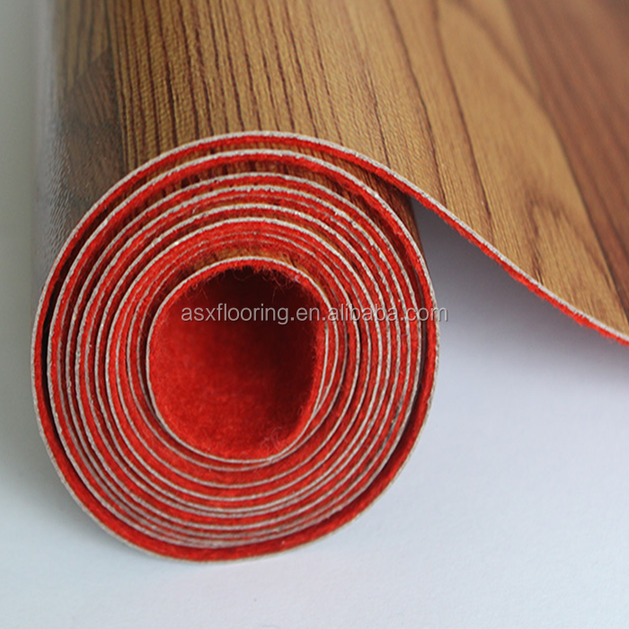 Fireproof linoleum with red or white felt backing flooring roll price