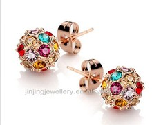 Rose gold with Crystal stone Ball Stud