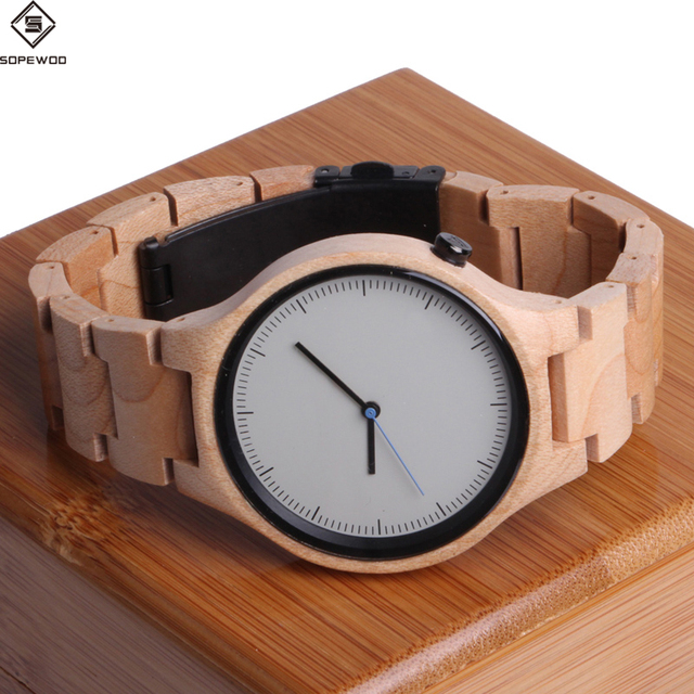 2018 new high quality fashion mens women branded custom logo wholesale wooden bamboo quartz wrist watch
