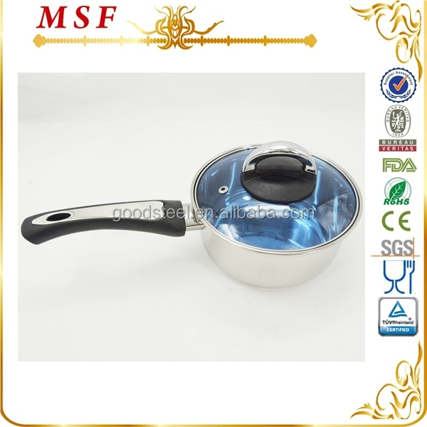 MSF straight shape body bakelite and SS handle and colorful glass lid stainless steel hand pan