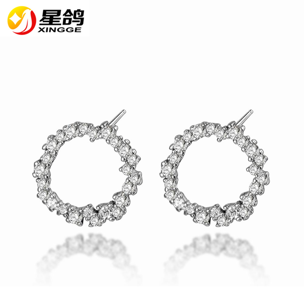 Wholesale Noble Stellux Austrian Crystal Zircon Round Stud Earrings 925 Sterling Silver Hollow Out Circle Stud Earrings jewelry