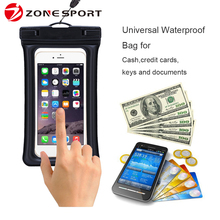 2017 popular best selling clear window cell phone floating waterproof case for Swimming