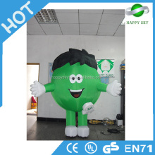 2015 Cheap customized inflatable advertising green cartoons, advertising inflatable walking cartoon, inflatable moving cartoon