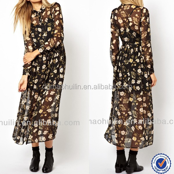 shirt collar long sleeve floral printing chiffon maxi dress indonesia