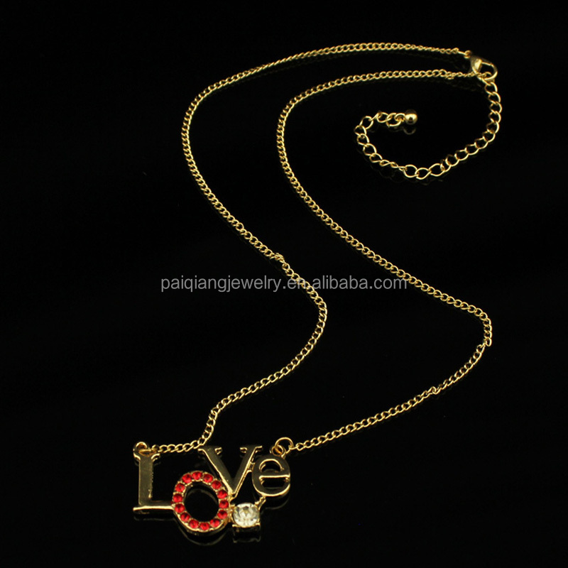 Wholesale fashion simple gold plated red rhinestone crystal letter love pendant necklace