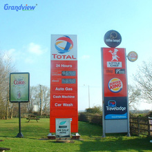 Free standing illuminateed advertising display led gas station price sign outdoor pylon totem