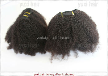 hot selling Virgin remy Brazilian kinky hair clip on extensions