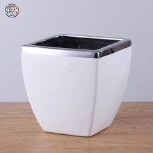 Fashionable white and silver style modern ceramic flower porcelain planter pots garden with low price