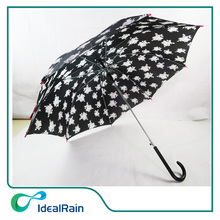 Good Quality Cool Flower Printing Straight Umbrella for Sale with Long Handle