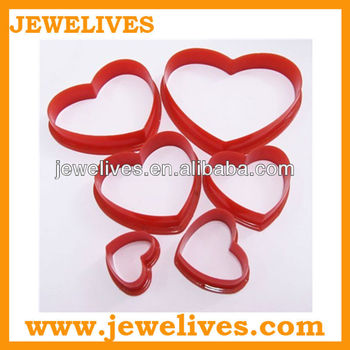 6pcs set cake decoration heart silicone cake cutter mold