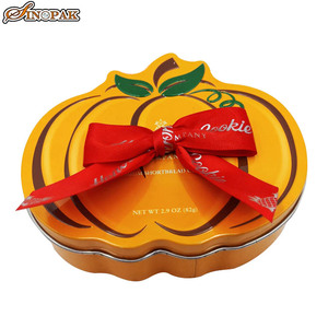 Wholesale unique pumpkin creative metal tin packaging chocolate sweet mints candy box