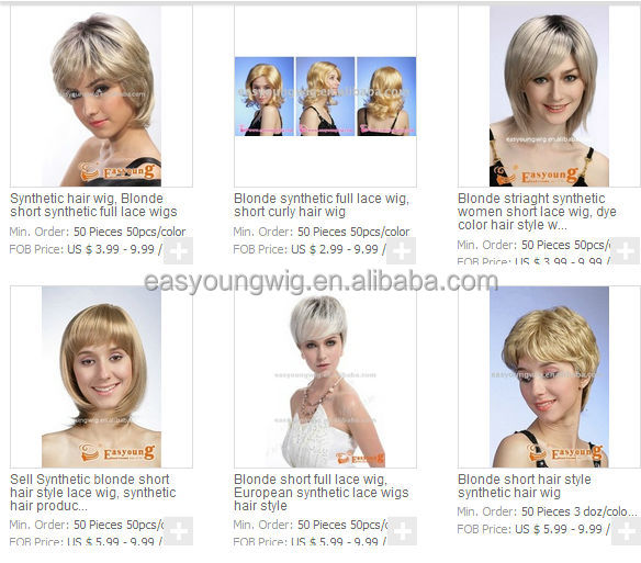 Ladies Honey blonde short synthetic hair styles wigs for white women