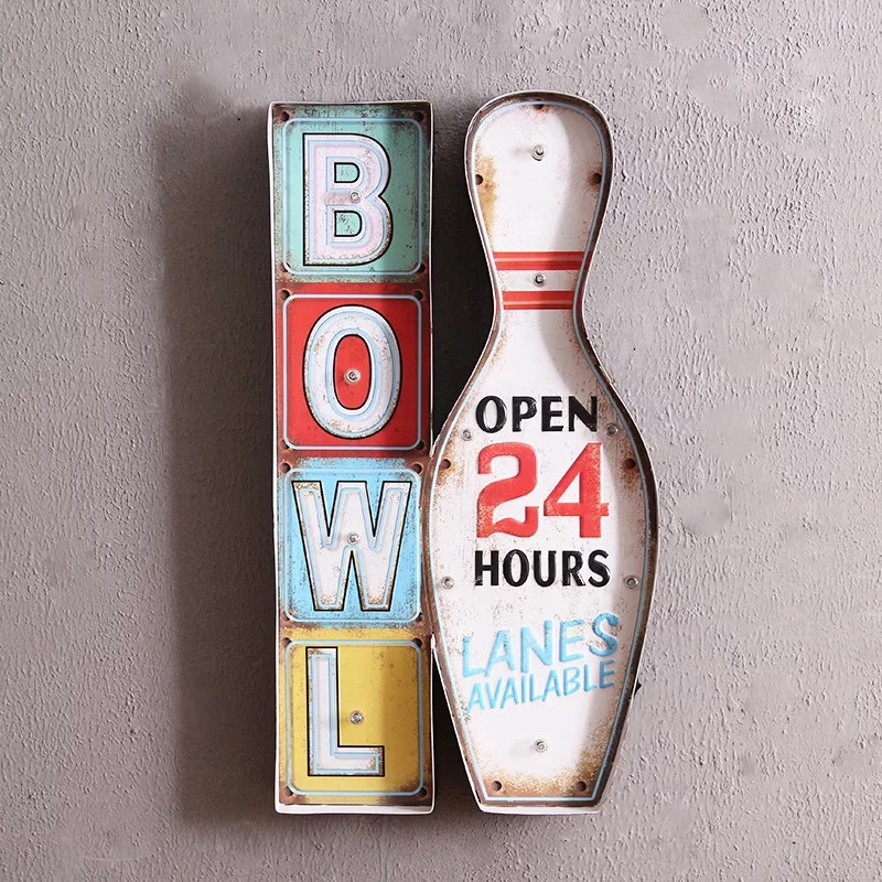 retro style bowling wall art decoration led light metal crafts for home cafe bar