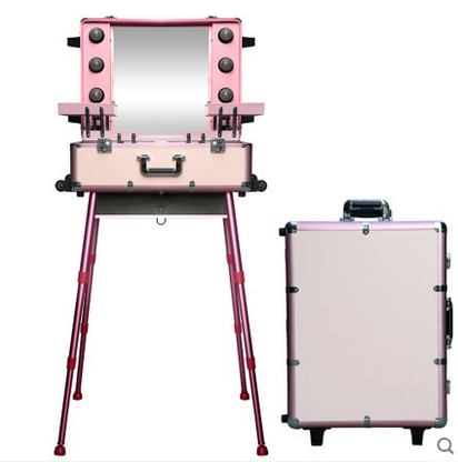 Professional Pink Aluminum Makeup Case With Lights,Easy Carrying Aluminum Lights Case With Mirror KL-MCL007