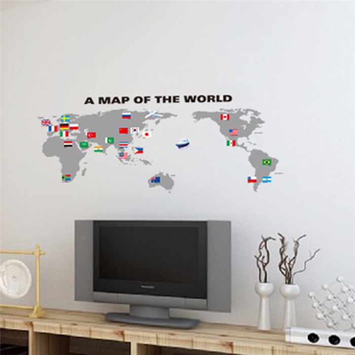 Newest waterproof Eco-friendly PVC funny sticker world map