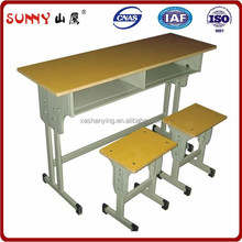 Durable middle school student wood double desk with chair
