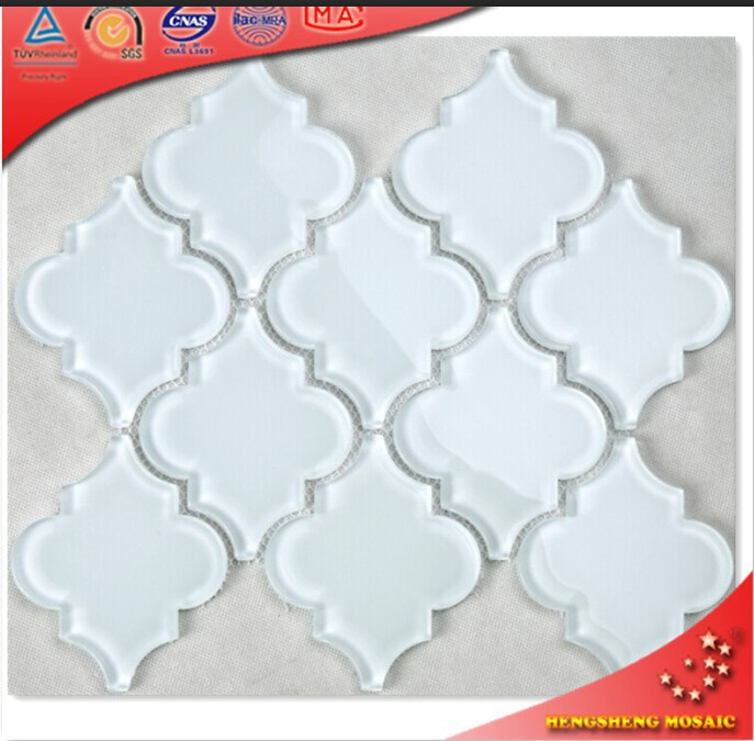 HSD203 Arabesque Bright White Glossy Glass Mosaic Tile for Kitchen Backsplash