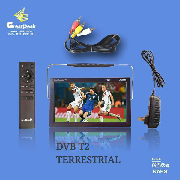 Russia Europe Market Mini 9 inch handy LED Convenient Clapping DVB T2 rechargeable <strong>TV</strong>