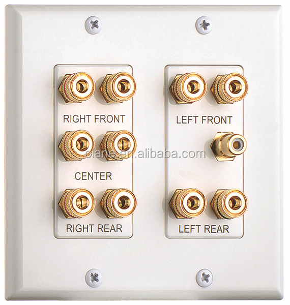 2 Gang 5.1 Surround Distribution Home Theater Wall Plate