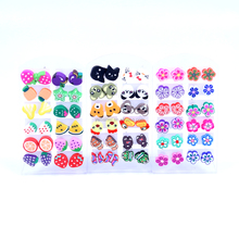 Free Shipping Small Lot Wholesale 12pairs Colorful Cheap Polymer Clay Slices Cute Fruit Animal Flower Designs Piercing Earrings