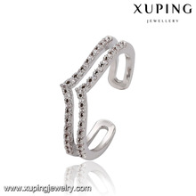 14656 Xuping simple stylish women jewelry two layer shaped zircon channel set finger ring for sale
