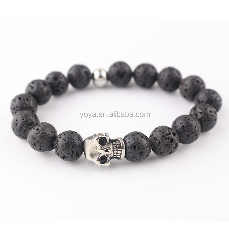 BRA0694 fashion stainless steel skull head black lava bead mens bracelet