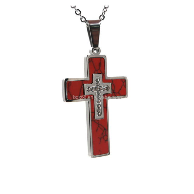 Wholesales Cheap Stainless Steel Many Color Religious Our Father Jesus Christ Crucifix Cross Crystal Pendant For Rosary Necklace