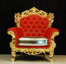 Luxury Hand Carved 24K Gold Plated Gold and Red Sofa Chair, Sumptuous Louis Style Button Tufted Sofa Chair/Armchair