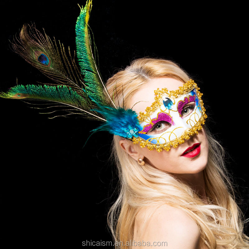 Venice Mask with Peacock Feather Princess Lady for Masquerade Party Dance wedding decoration Halloween Christmas Elegant