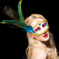 Venice Mask With Peacock Feather Princess