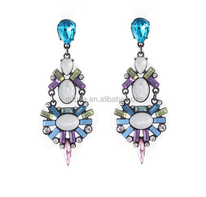 Foreign Trade Sales In Europe and The Big Fashion Color Gem Earrings