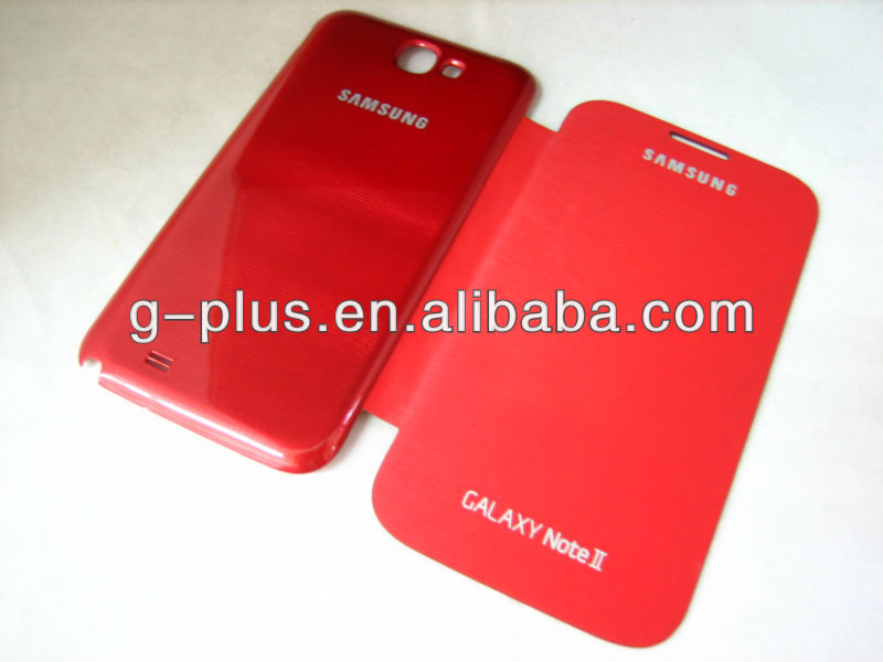 Red Leather Flip Cover Carrying Case Pouch for Samsung Galaxy Note II 2 GT-N7100 N7100