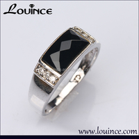 925 silver rhodium plated jewelry black and white fashion boys silver rings engagement rhodium plated cz rings